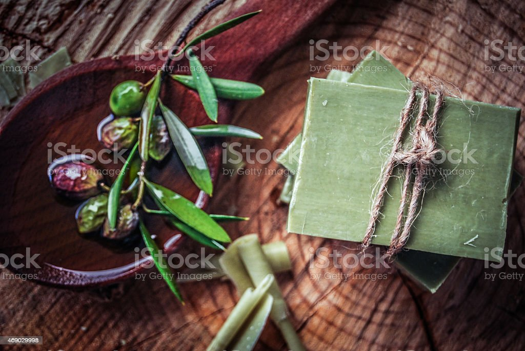 Traditional pure olive oil soap from greece stock photo