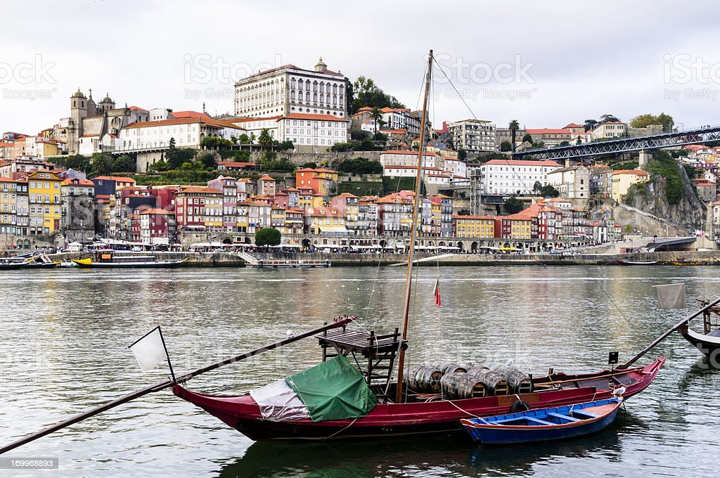 Traditional rabelo boat on Douro River in Porto, Portugal stock photo