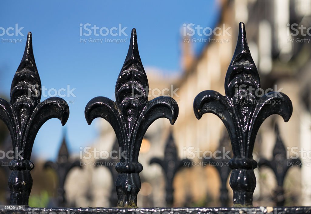 Traditional railing spiked tops in Edinburgh's New Town stock photo