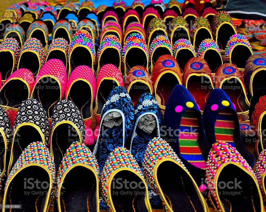 Traditional Rajasthani footwear stock photo