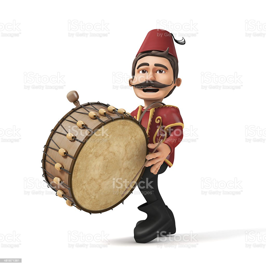 3D Traditional Ramadan Drummer playing drum- isolated stock photo