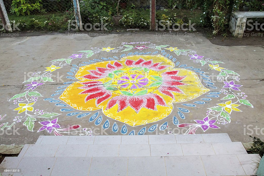 Traditional Rangoli Floral Design Indian Threshold modern adaptation to greeting stock photo