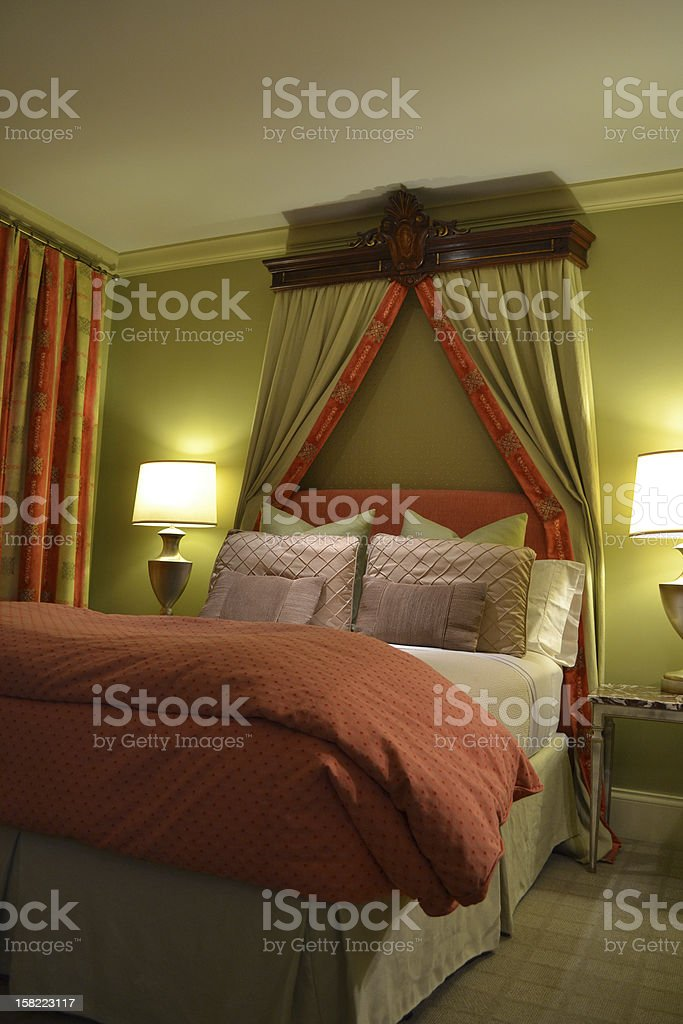 Traditional Red and Green Bed royalty-free stock photo