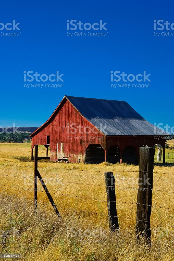 Traditional Red Barn in California stock photo