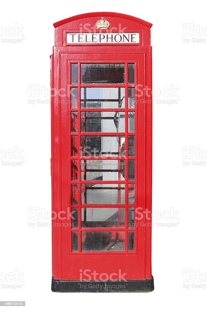 Traditional red British phone box stock photo