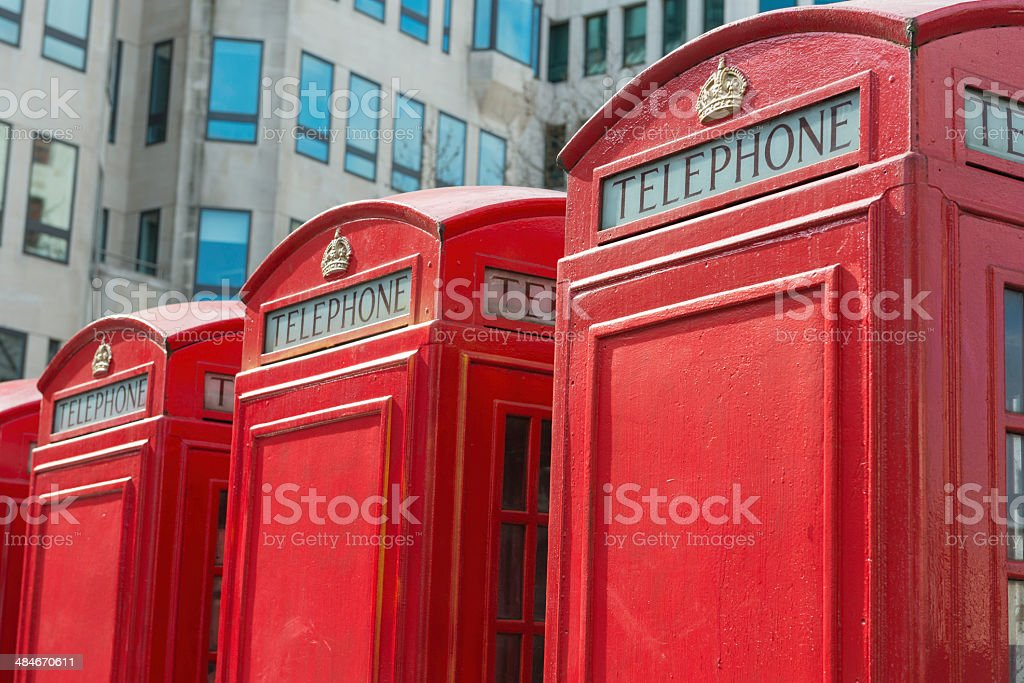 Traditional red telephone booths in London royalty-free stock photo