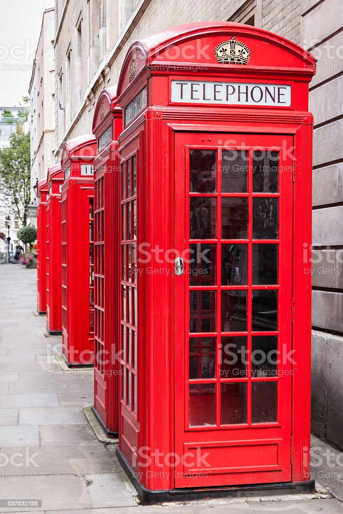 Traditional red telephone booths in London stock photo