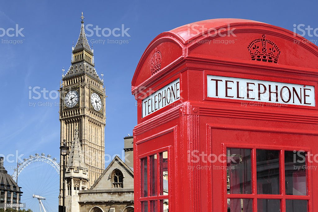Traditional red telephone box with Big Ben royalty-free stock photo