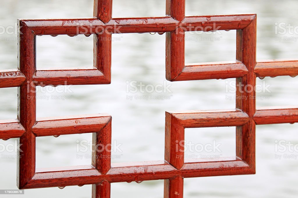 traditional red wood pane royalty-free stock photo