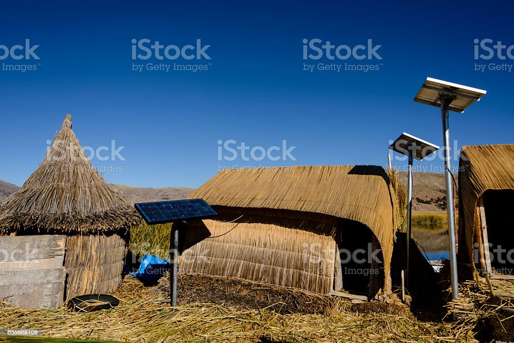 Traditional reed homes on the Uros Floating Islands stock photo