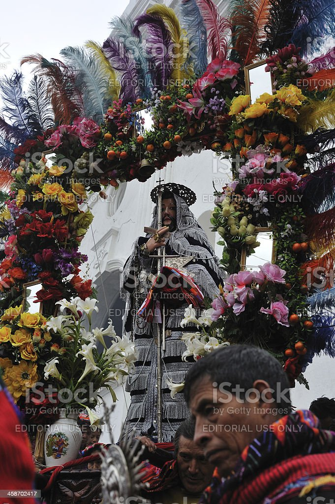 Traditional religious ceremony in Guatemalan village royalty-free stock photo