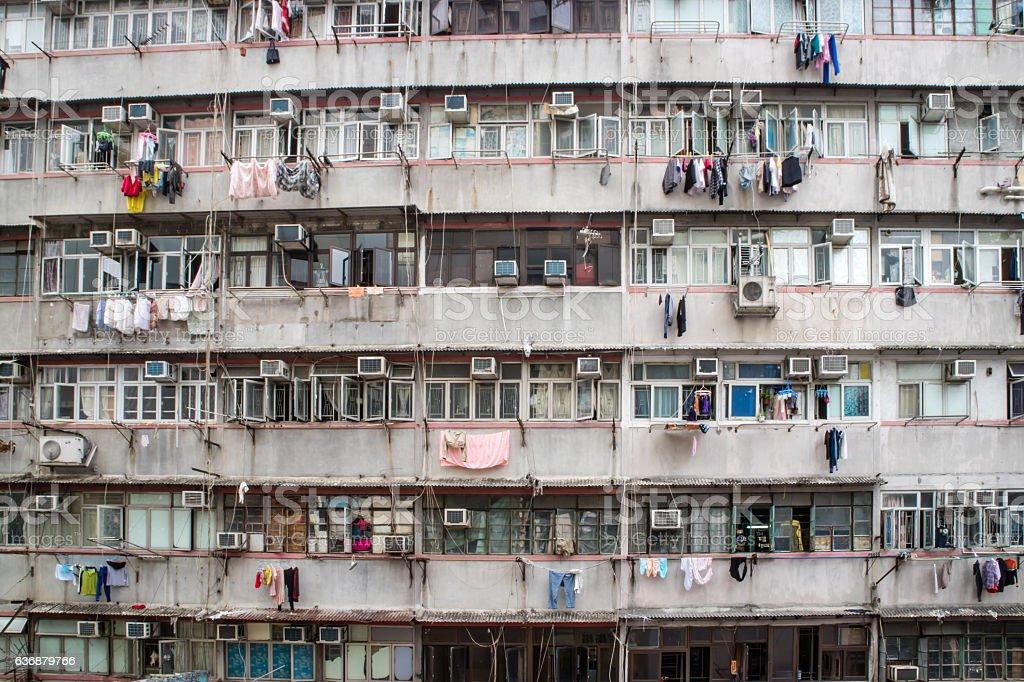 Traditional residential old facade building Hong Kong stock photo