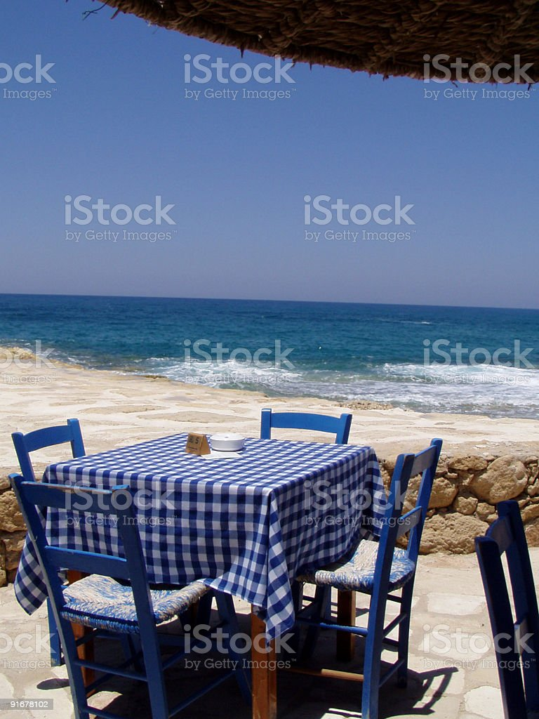 Traditional restaurant by the sea stock photo