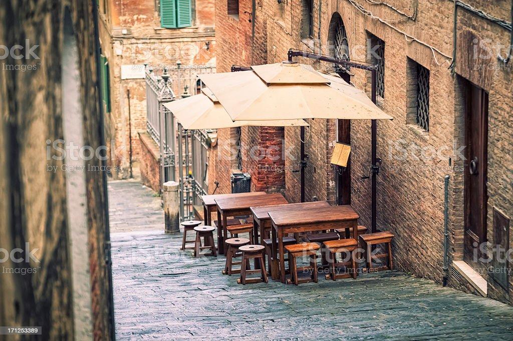 Traditional restaurant in Siena, Tuscany stock photo