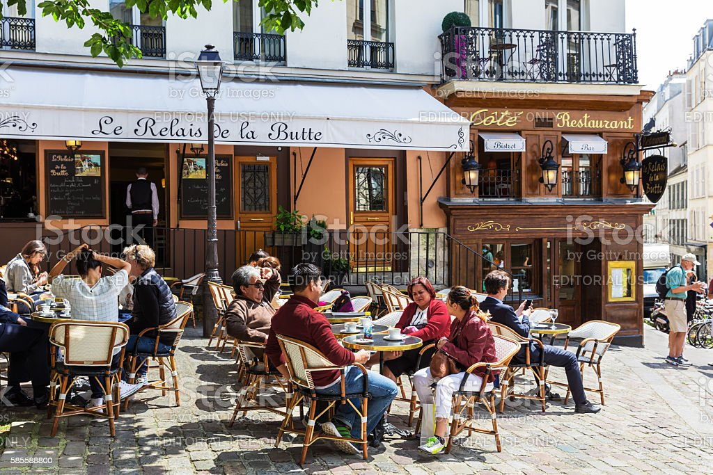 Traditional restaurant in the Butte Montmartre, Paris, France stock photo