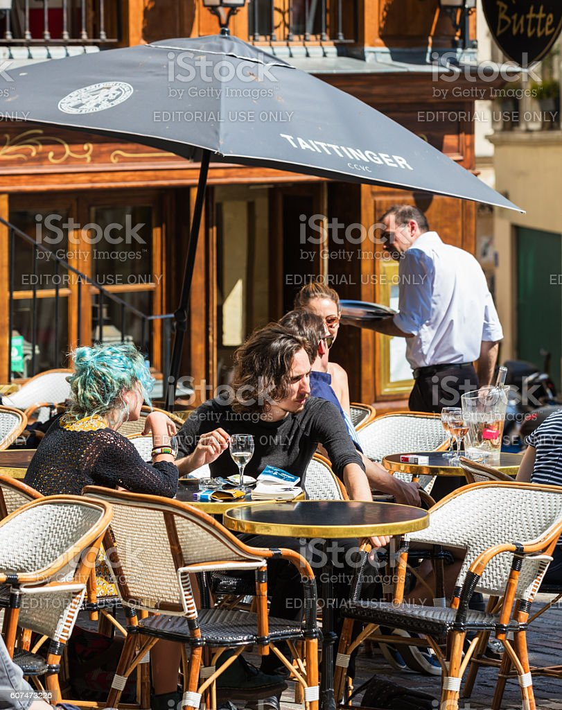 Traditional restaurant in the Butte Montmartre, Paris, France royalty-free stock photo