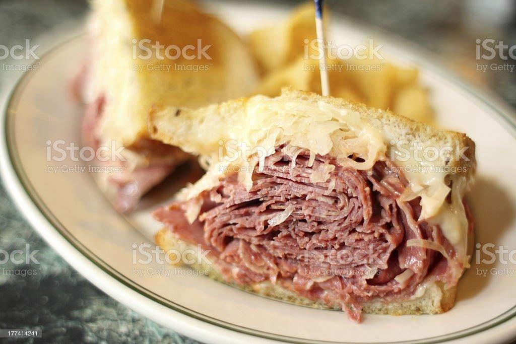 Traditional Reuben sandwich stock photo