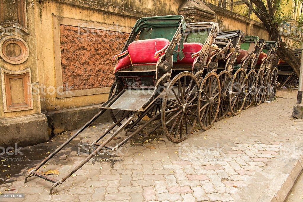 Traditional rickshaw in India stock photo