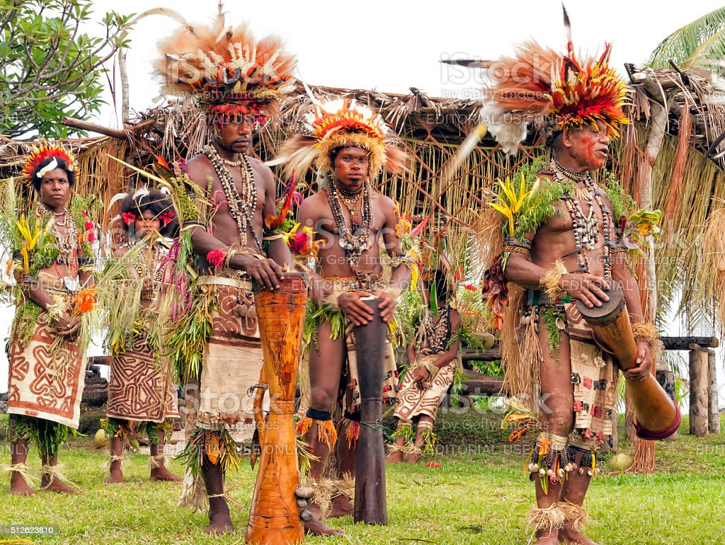 Traditional ritual ceremony in tribal village in PNG stock photo