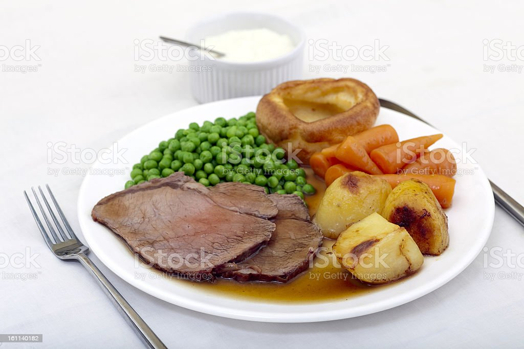 Traditional roast beef and Yorkshire pudding stock photo