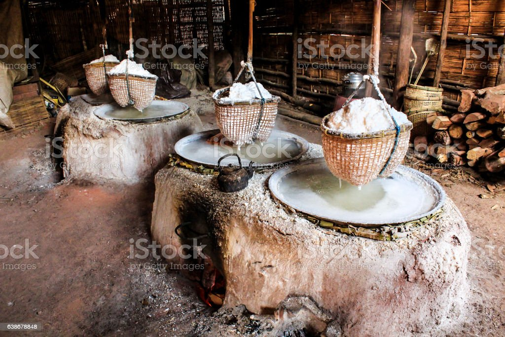 Traditional rock salt making, boiling salt mountainous stock photo