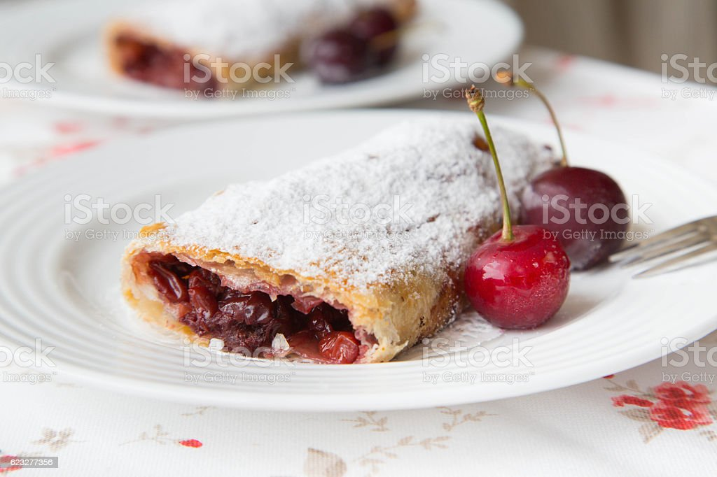 Traditional romanian and moldovan dessert with sour cherries - i stock photo