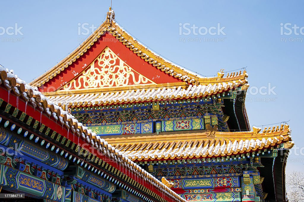 Traditional roof edge detail stock photo
