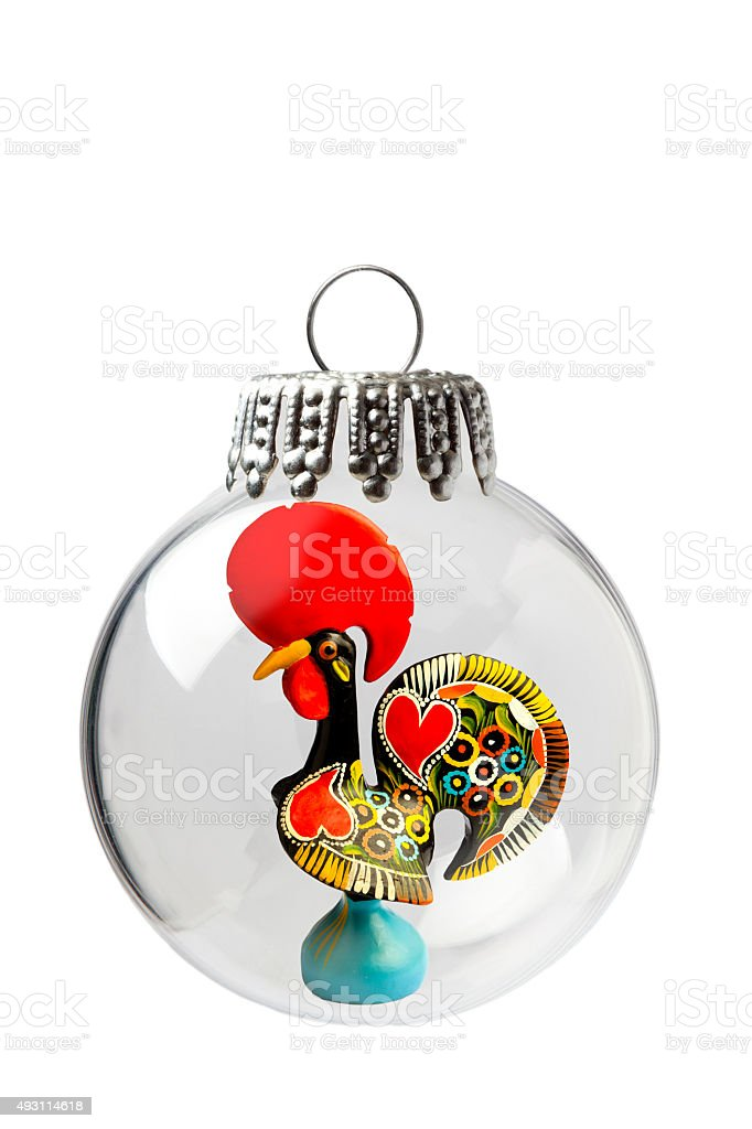 Traditional Rooster In a Christmas Ornament stock photo
