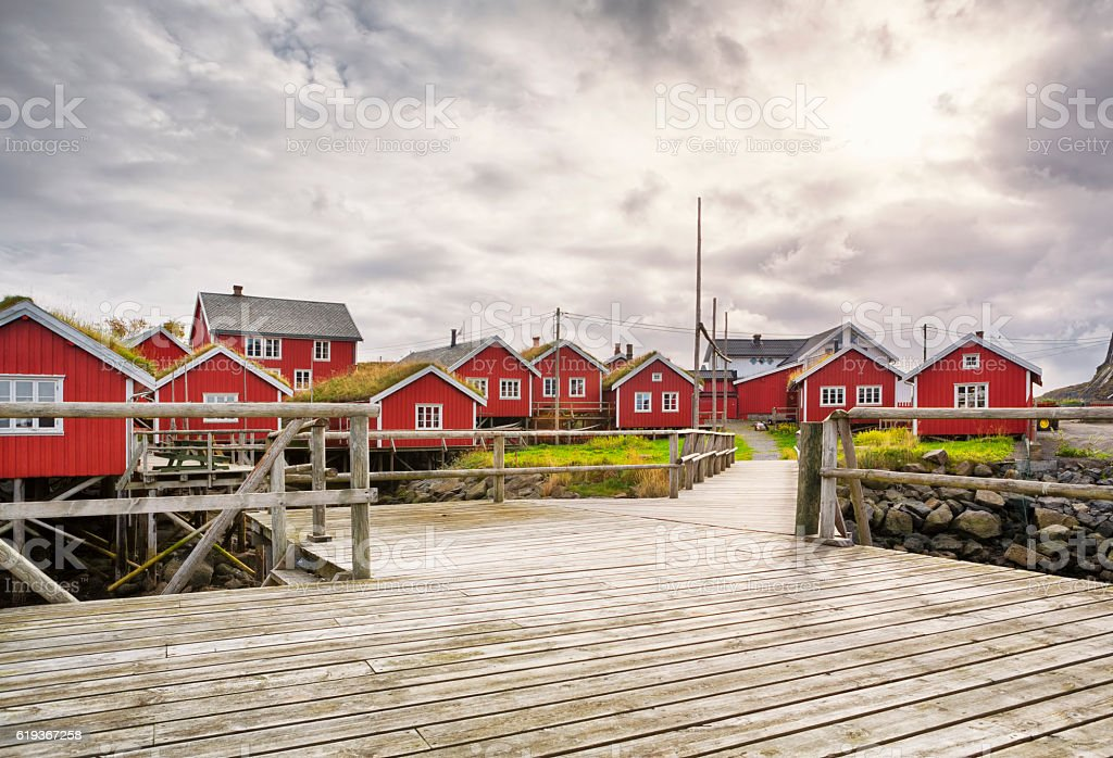 Traditional Rorbus and Pier of Reine, Lofoten, Norway stock photo
