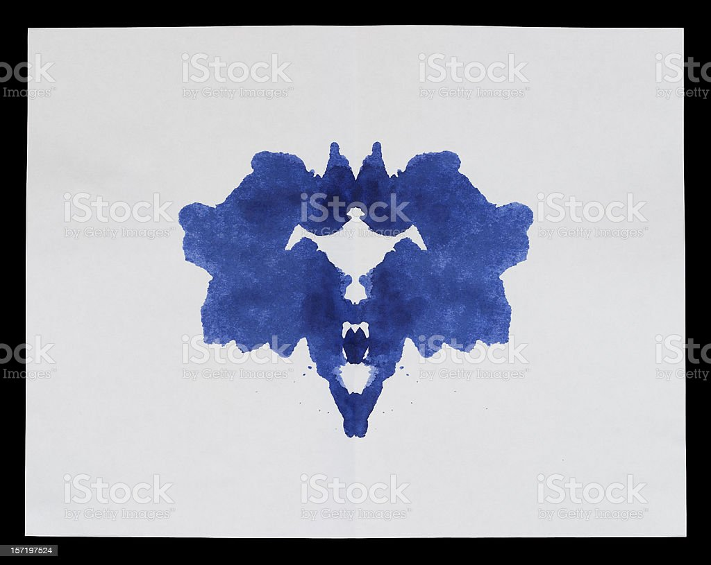 Traditional Rorschach Inkblot, blue ink on paper used royalty-free stock photo
