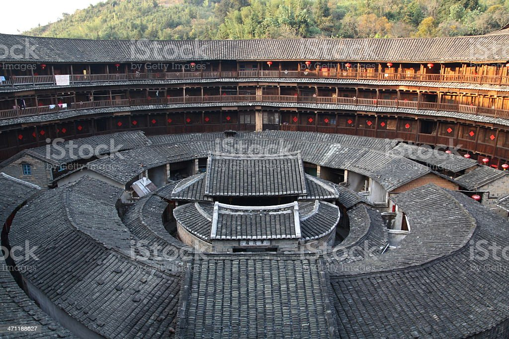 Traditional Round Chinese Huts stock photo