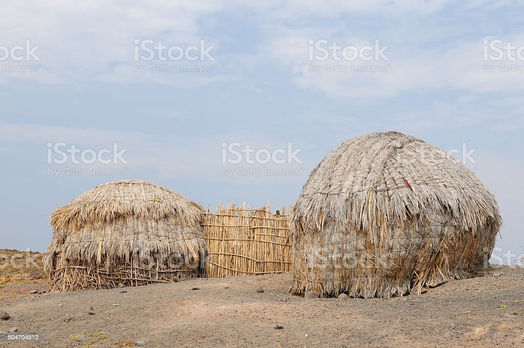 Traditional round house of people from the Turkana tribe stock photo