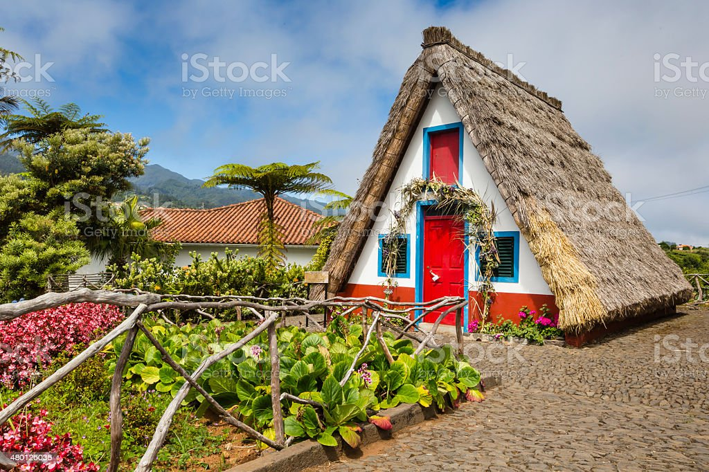 Traditional rural house in Santana Madeira, Portugal. stock photo
