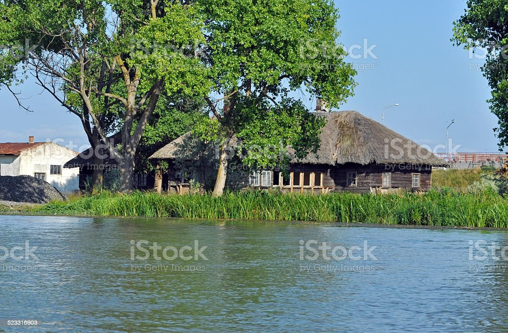 Traditional rural houses in the Danube delta, Romania stock photo