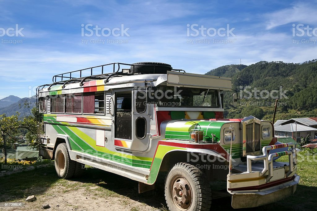 traditional rural passenger jeepney philippines stock photo