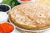 traditional Russian crepes, closeup