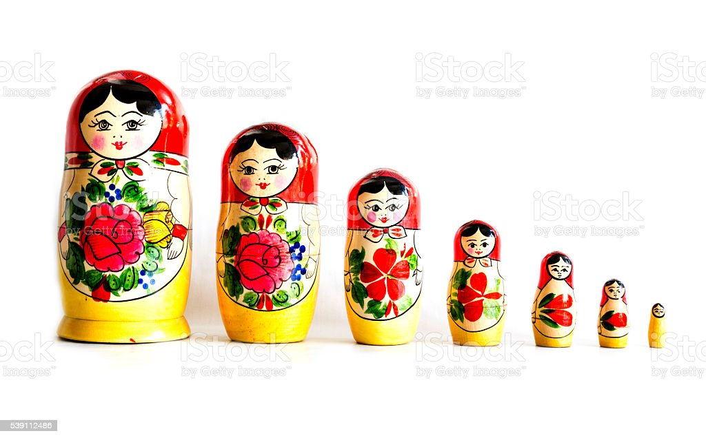 Traditional Russian matryoshka dolls stock photo