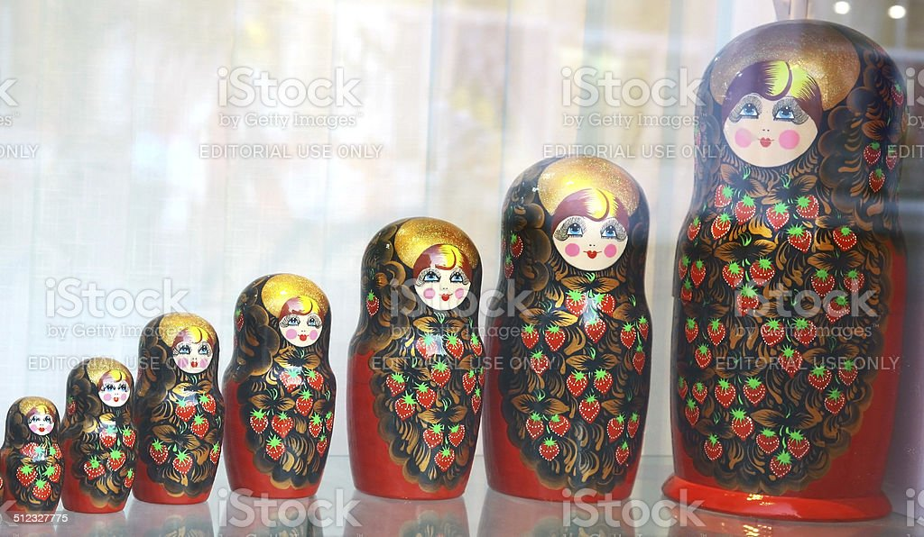 Traditional russian matryoshka dolls souvenir stock photo