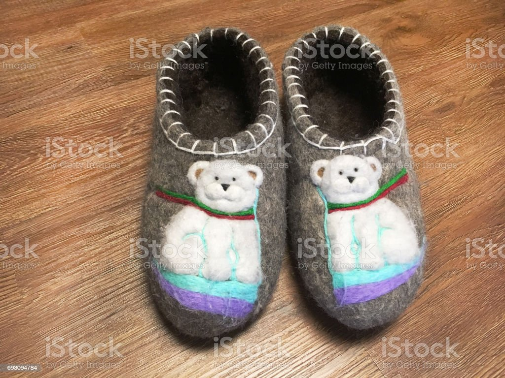 Traditional Russian national footwear Boots. Valenki. stock photo