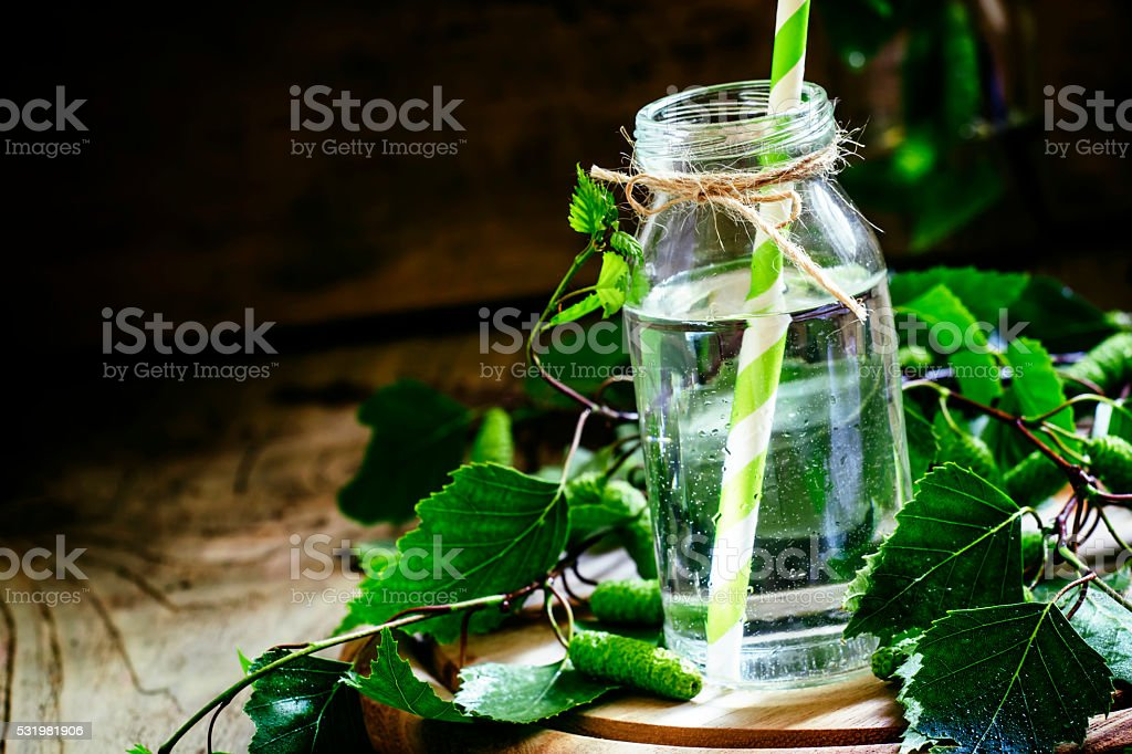 Traditional Russian refreshing drink birch juice stock photo