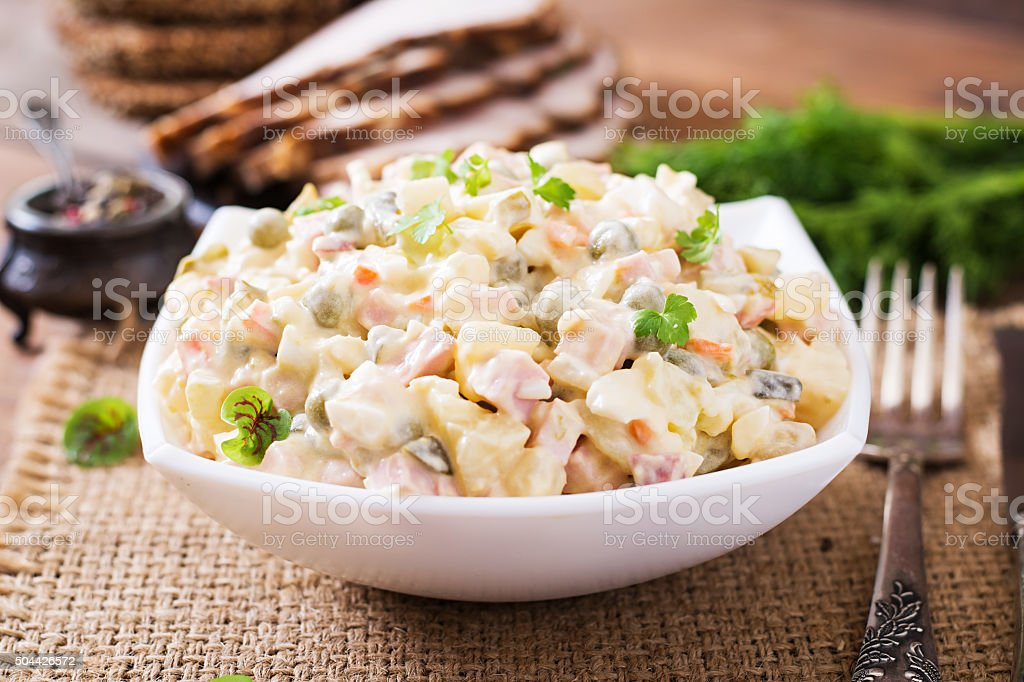 Traditional Russian salad 'Olivier' stock photo