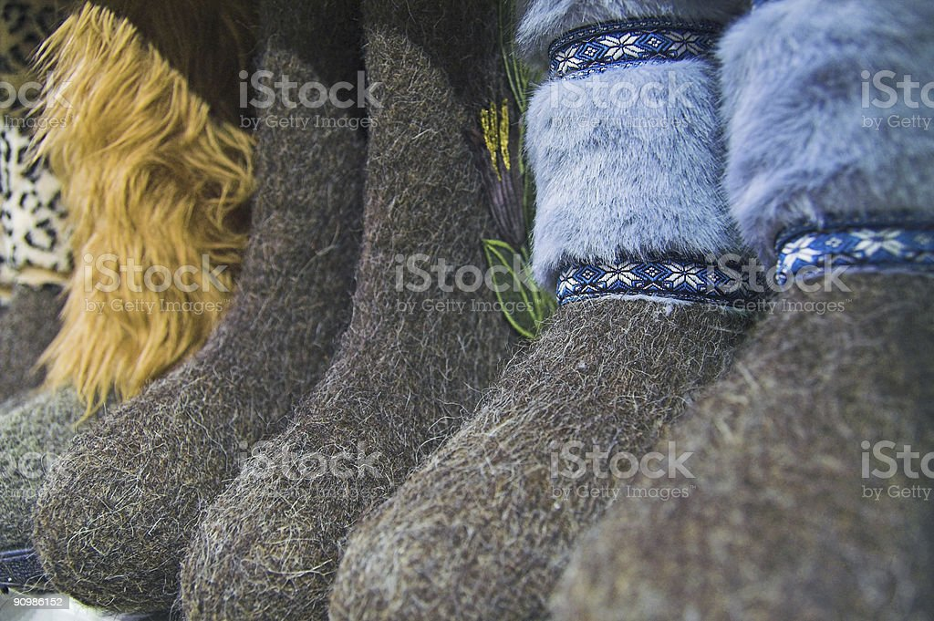 Traditional Russian shoes stock photo