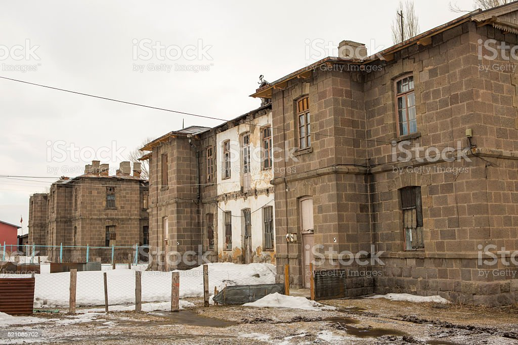 traditional russian stone railway station buildings at sarikamis kars turkey stock photo