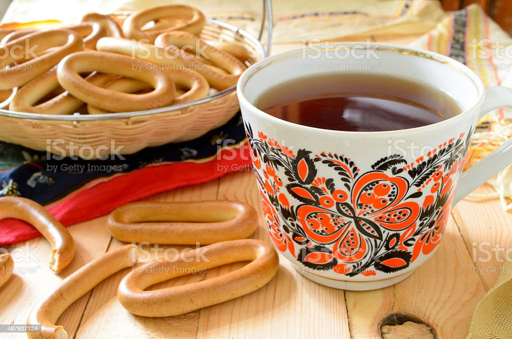 traditional Russian tea-party with cracknels on wooden table stock photo