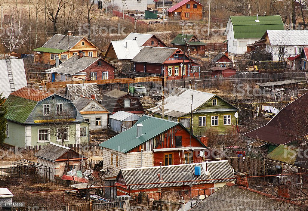 traditional Russian village stock photo