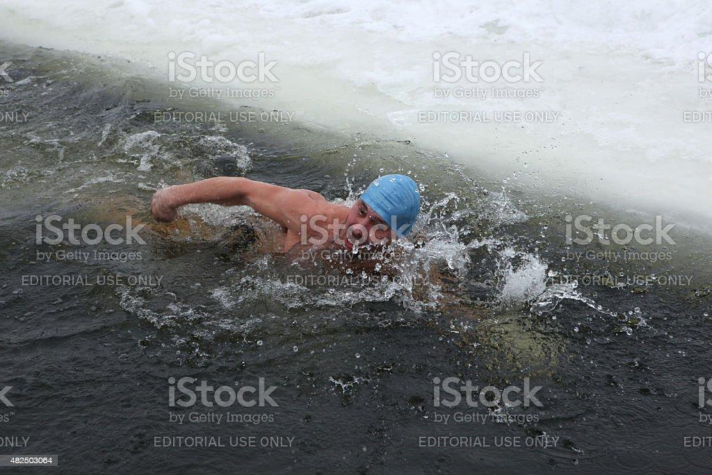 Traditional Russian winter swimming stock photo