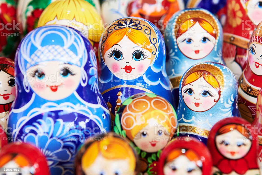 traditional russian wooden nesting dolls stock photo