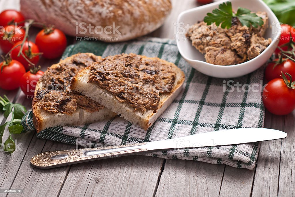 traditional rye bread with pate. stock photo
