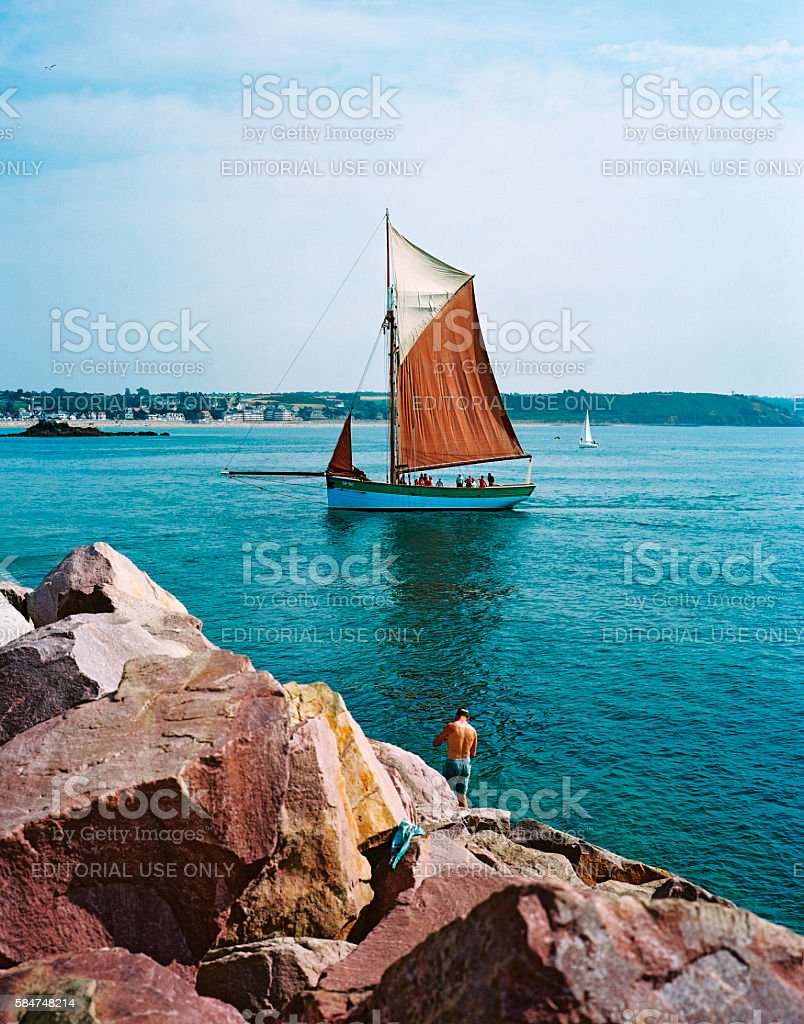 Traditional sailing boat in Brittany, France stock photo