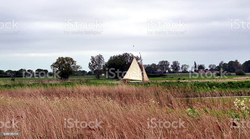 Traditional sailing boat on the Norfolk Broads, England stock photo